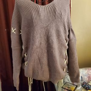 Drop shoulder ash lilac with mohair sweater